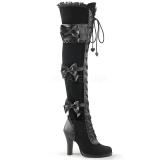 Cuissardes gothiques en velours noir glam-300