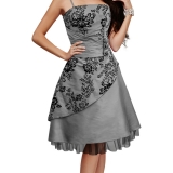 Robe faux jupon en satin gris
