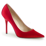 Escarpins en satin rouge bout pointu
