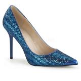 Escarpins coloris bleu à paillettes