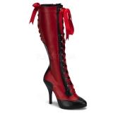 Bottes rouges et noires à lacet