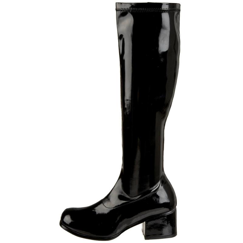 Botte femme vinyle noir brillant petit talon large f9dfee28ec92