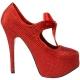Escarpin rouge  pailleté TEEZE-04R