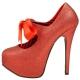 Escarpins à lacets rouges pailletés talon plateforme TEEZE-04G