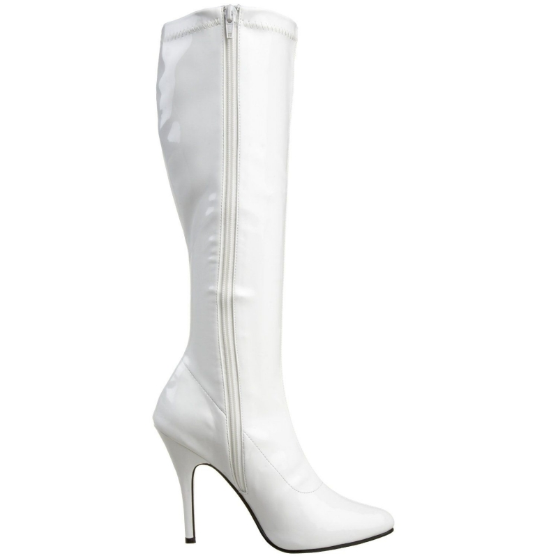 Bottes blanches vernies talon haut sexy