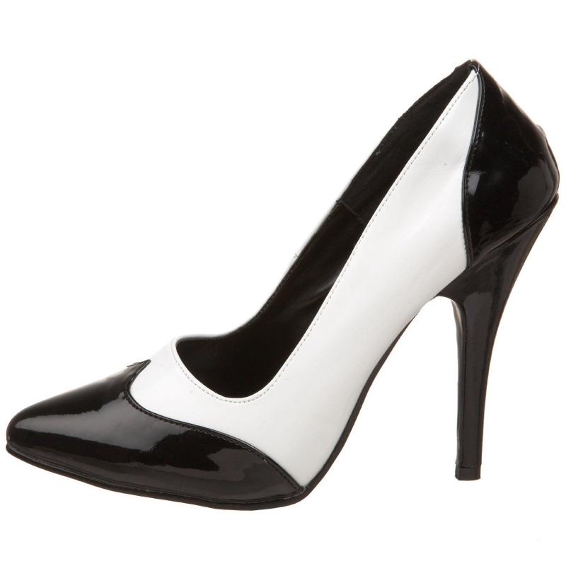 88672e16deb1 ... Escarpin original blanc et noir vernis; Chaussures femmes blanche et  noire a talon ...