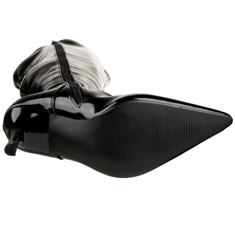e3e3f9bd551c ... Cuissardes en vinyle noir petit prix · Cuissardes en Vinyle Noir Vernis  Talon Aiguille LUST-3000 ...
