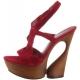 Sandales de Luxe en Cuir Bordeaux Talon Compensé SWAN-657