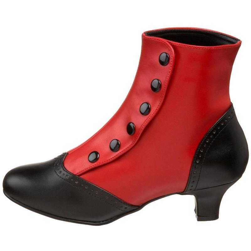des et Porter bottines rouges vintage style noires fyYb6g7