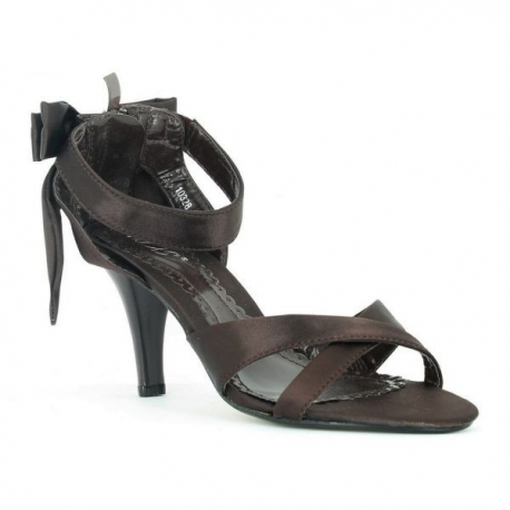 Sandales à bride de cheville marron petit flot talon haut