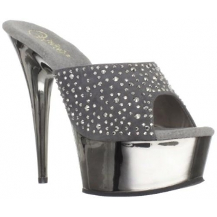 Mules de Spectacle Argent et Strass Talon Plateforme DELIGHT-601RS