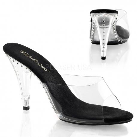 Chaussures mules transparentes et noires talon fin CARESS-401LS