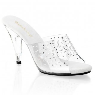 Mules originales transparentes à strass talon fin CARESS-401RS