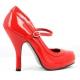 Escarpins à bride rouges vernis