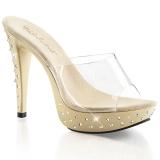 Chaussures mules beiges et transparentes talon strass cocktail-501std