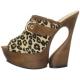 Chaussure mule en cuir caramel talon haut plateforme swan-601lp