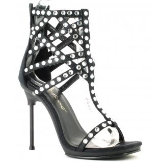 Chaussures nu-pieds de soirée à strass talon aiguille métal chic-32