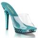 Chaussures d'été femmes mules transparentes et turquoise talon lip-101sdt