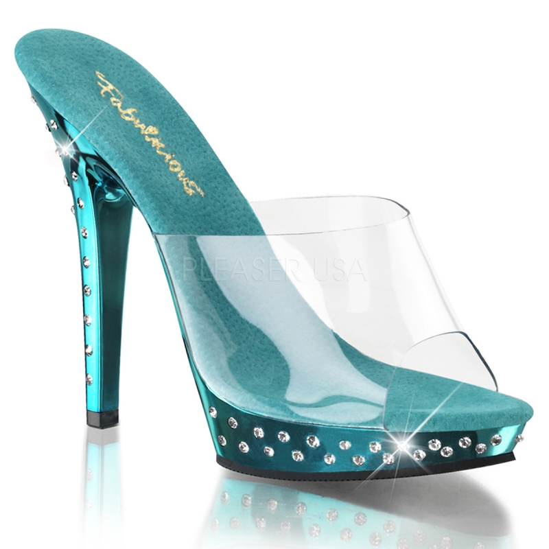 chaussure femme mules talon turquoise et strass. Black Bedroom Furniture Sets. Home Design Ideas