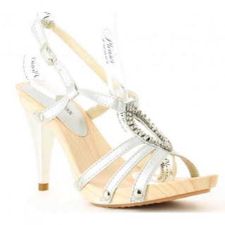 Chaussures été femmes nu-pieds à brides argentées semelle bois