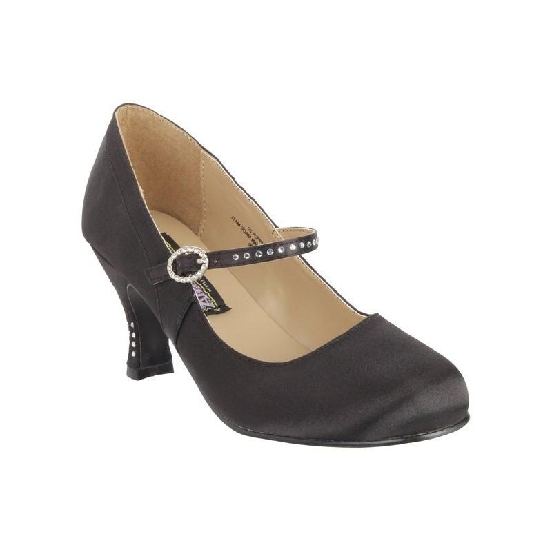 souliers f minins en satin noir escarpin talon bas en. Black Bedroom Furniture Sets. Home Design Ideas