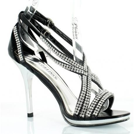 Chaussures femmes à talon aiguille sandales à brides noires et strass