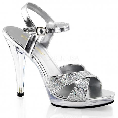 Chaussures à paillettes nu-pieds argentés à brides talon haut flair-419g