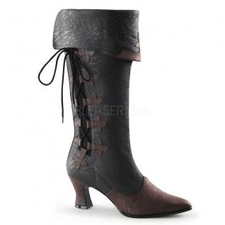 Chaussures rétro bottes à revers lacet petit talon victorian-128