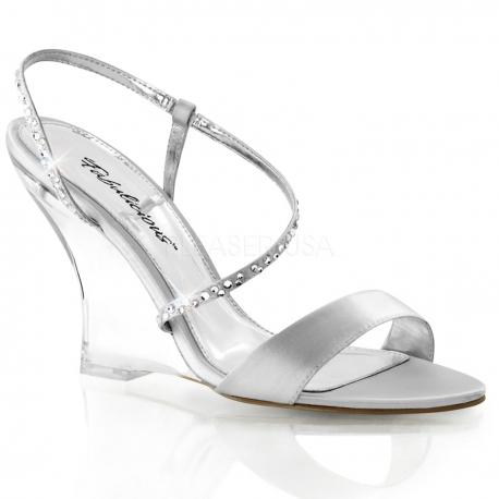 Chaussures compensées sandales à brides argentées lovely-417