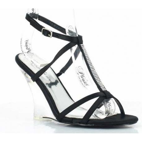 Chaussures compensées nu-pieds noirs à bride cheville lovely-428