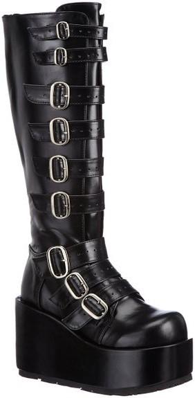 Chaussures gothiques bottes compensées noires talon plateforme concord-108 - Pointure : 38
