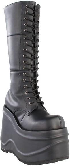 c677e4e50641 Chaussures gothiques bottes noires talon compensé wave-302