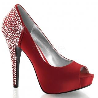 Escarpins satin rouge à strass