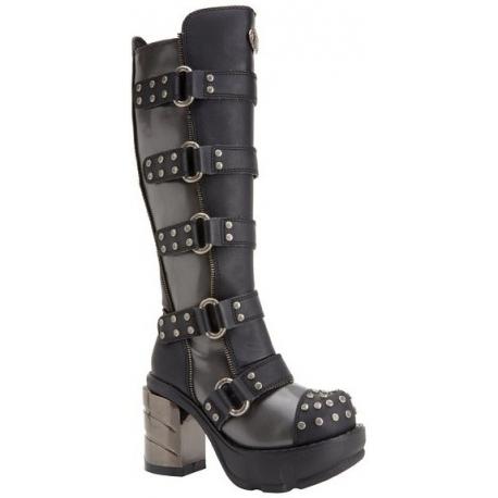 Chaussure gothique botte à sangle noire talon plateau sinister-302