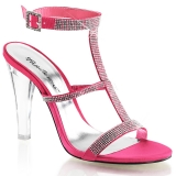 Chaussures à strass nu-pieds satin rose fuschia talon haut clearly-418