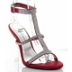 Chaussures à strass nu-pieds satin rouge talon haut clearly-418