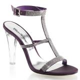 Chaussures à talon transparent nu-pieds aubergines clearly-418