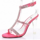 Chaussures à talon transparent sandale corail à strass clearly-418