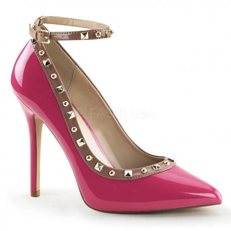 Chaussures vernies escarpins roses à brides talon fin amuse-28