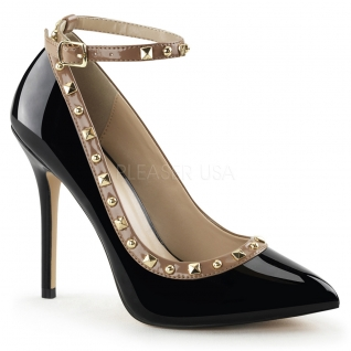 Chaussures vernies escarpins noirs à bride talon fin amuse-28