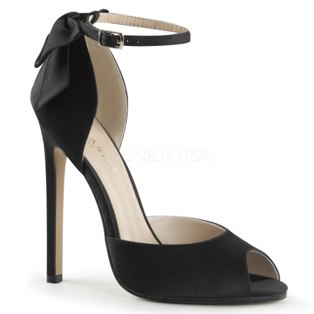 Escarpins d'Orsay satin noir sexy-16