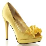 Escarpins Peep Toe satin jaune