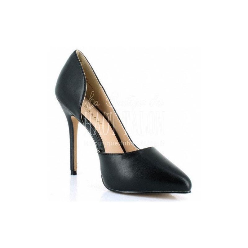 0277fce6bce2 Escarpin échancré noir talon fin chaussure Pleaser
