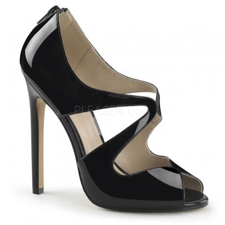 Sandales noires vernies asymétriques talon aiguille sexy-12