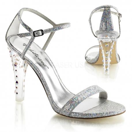 Sandale originale argentée talon transparent clearly-425