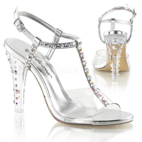 Nu-pied transparent à strass talon fin clearly-426