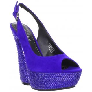 Sandales de Luxe Microfibre Bleues et Strass SWAN-654DM
