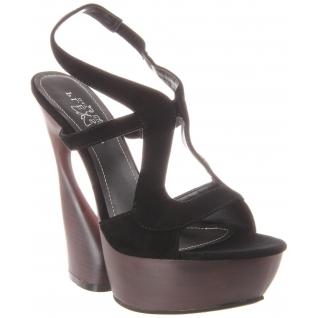 Sandales de Luxe en Cuir Noir Talon Compensé SWAN-657
