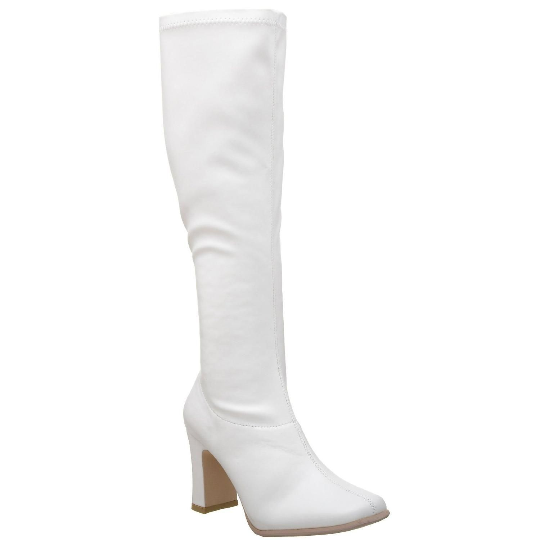 bottes blanches vernies talon haut large, des chaussures sexy à