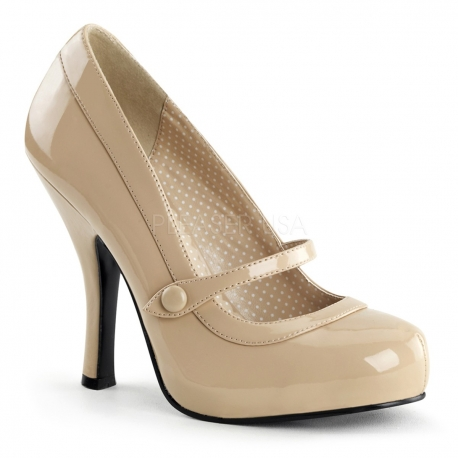 Chaussures pin up beige vernis